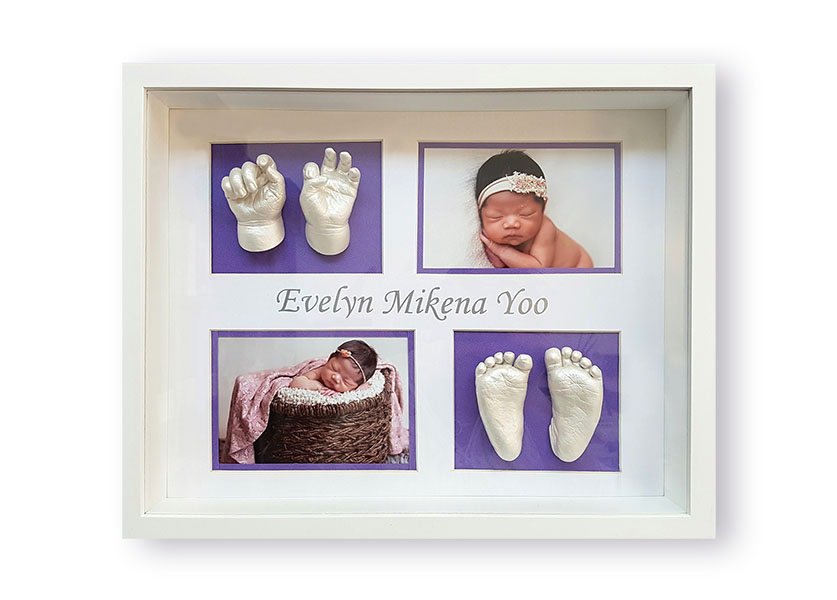 Evelyn's Baby Hand and Feet Castings in a Classic Memory Castings Shadowbox Frame