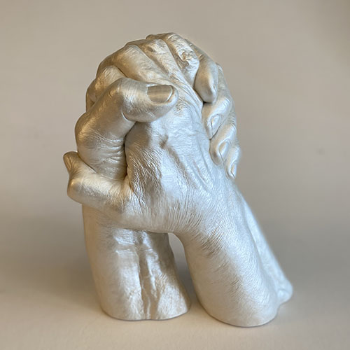Husband and Wife Hands Holding Memory Castings Love Sculpture